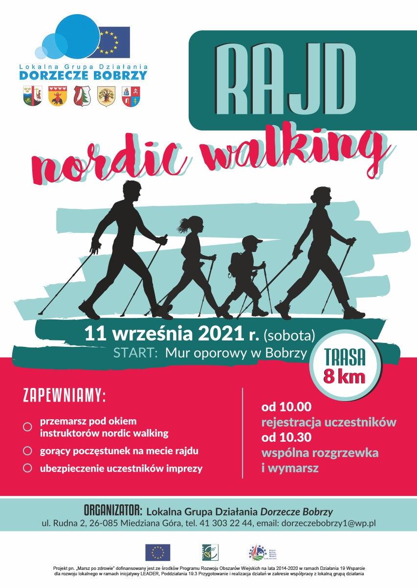 Zaproszenie na rajd Nordic Walking. Rodzina maszerująca z kijkami.